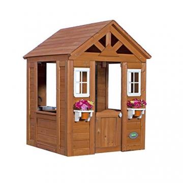 Beauty.Scouts Holzspielhaus Svante mit Blumentopfhalter u. Spielzubehör 117x107x140cm aus Zedernholz in braun Kinder Spielhaus Kinderspielhaus modern schick - 2