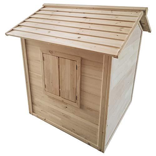 Beauty.Scouts Holzspielhaus Ulv 112,5x110,5x120cm aus Hemlock Holz in braun Kinder Spielhaus Kinderspielhaus Gartenhaus mit Fenster Tür Holzhaus - 5