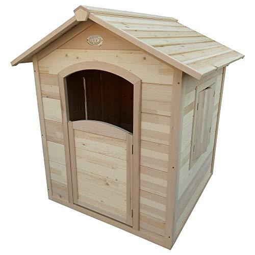 Beauty.Scouts Holzspielhaus Ulv 112,5x110,5x120cm aus Hemlock Holz in braun Kinder Spielhaus Kinderspielhaus Gartenhaus mit Fenster Tür Holzhaus - 1