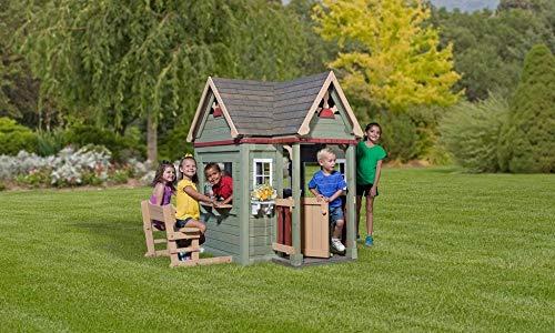 Beauty.Scouts Holzspielhaus Vala mit Spielzubehör 188x165,1x170,2cm aus Zedernholz in grün Kinder Spielhaus Kinderspielhaus Ranch Stil Gartenhaus - 2
