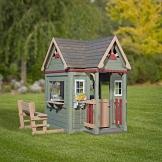Beauty.Scouts Holzspielhaus Vala mit Spielzubehör 188x165,1x170,2cm aus Zedernholz in grün Kinder Spielhaus Kinderspielhaus Ranch Stil Gartenhaus - 1