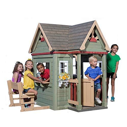 Beauty.Scouts Holzspielhaus Vala mit Spielzubehör 188x165,1x170,2cm aus Zedernholz in grün Kinder Spielhaus Kinderspielhaus Ranch Stil Gartenhaus - 3