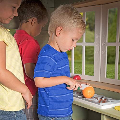 Beauty.Scouts Holzspielhaus Vala mit Spielzubehör 188x165,1x170,2cm aus Zedernholz in grün Kinder Spielhaus Kinderspielhaus Ranch Stil Gartenhaus - 4