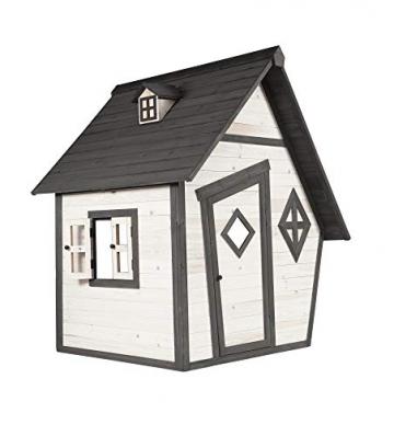 Beauty.Scouts Holzspielhaus Valka 102x127x164cm Zedernholz in grau-weiß Kinder Spielhaus Kinderspielhaus Gartenhaus Holzhaus asymmetrische Tür Fenster modern - 1