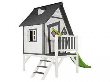 Beauty.Scouts Holzspielhaus Valka XL mit Leiter und Rutsche 167x261x219cm aus Holz in grau-weiß Kinder Kinderspielhaus Holzhaus Stelzenhaus asymmetrische Tür - 2