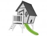Beauty.Scouts Holzspielhaus Valka XL mit Leiter und Rutsche 167x261x219cm aus Holz in grau-weiß Kinder Kinderspielhaus Holzhaus Stelzenhaus asymmetrische Tür - 1
