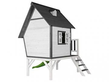 Beauty.Scouts Holzspielhaus Valka XL mit Leiter und Rutsche 167x261x219cm aus Holz in grau-weiß Kinder Kinderspielhaus Holzhaus Stelzenhaus asymmetrische Tür - 3
