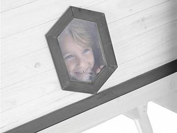 Beauty.Scouts Holzspielhaus Valka XL mit Leiter und Rutsche 167x261x219cm aus Holz in grau-weiß Kinder Kinderspielhaus Holzhaus Stelzenhaus asymmetrische Tür - 4