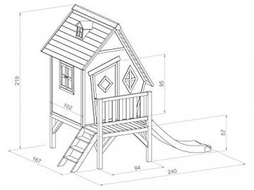 Beauty.Scouts Holzspielhaus Valka XL mit Leiter und Rutsche 167x261x219cm aus Holz in grau-weiß Kinder Kinderspielhaus Holzhaus Stelzenhaus asymmetrische Tür - 5