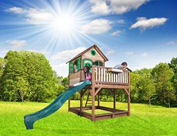 Beauty.Scouts Holzspielhaus Vinny mit Veranda + Rutsche + Leiter + Sandkasten 255x377x291cm aus Zedernholz in braun Spielhaus Kinderspielhaus Holzhaus Stelzenhaus - 2