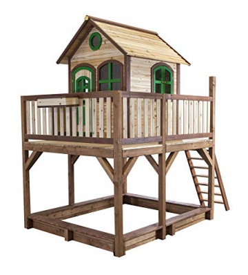 Beauty.Scouts Holzspielhaus Vinny mit Veranda + Rutsche + Leiter + Sandkasten 255x377x291cm aus Zedernholz in braun Spielhaus Kinderspielhaus Holzhaus Stelzenhaus - 3