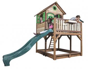Beauty.Scouts Holzspielhaus Vinny mit Veranda + Rutsche + Leiter + Sandkasten 255x377x291cm aus Zedernholz in braun Spielhaus Kinderspielhaus Holzhaus Stelzenhaus - 4