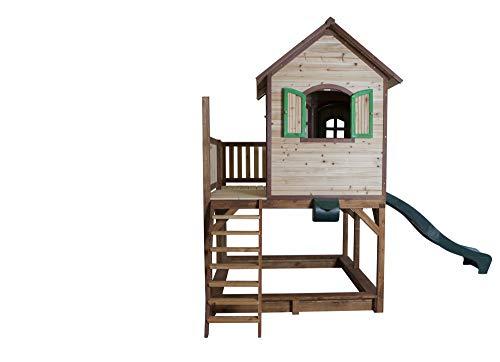 Beauty.Scouts Holzspielhaus Vinny mit Veranda + Rutsche + Leiter + Sandkasten 255x377x291cm aus Zedernholz in braun Spielhaus Kinderspielhaus Holzhaus Stelzenhaus - 5