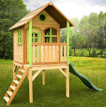 Beauty.Scouts Holzspielhaus Wencke mit Veranda + Rutsche + Leiter 172x272x318cm aus Zedernholz in braun Spielhaus Kinderspielhaus Gartenhaus Holzhaus Stelzenhaus - 2