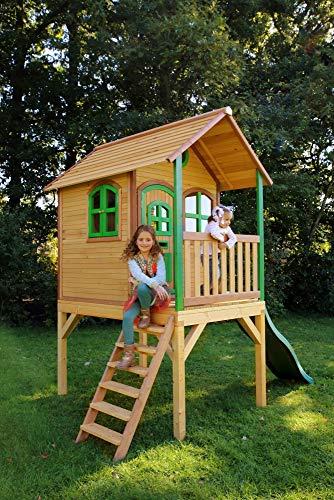 Beauty.Scouts Holzspielhaus Wencke mit Veranda + Rutsche + Leiter 172x272x318cm aus Zedernholz in braun Spielhaus Kinderspielhaus Gartenhaus Holzhaus Stelzenhaus - 3