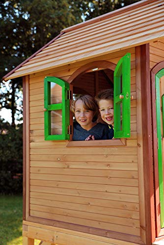 Beauty.Scouts Holzspielhaus Wencke mit Veranda + Rutsche + Leiter 172x272x318cm aus Zedernholz in braun Spielhaus Kinderspielhaus Gartenhaus Holzhaus Stelzenhaus - 4