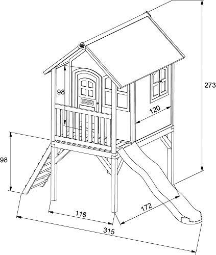 Beauty.Scouts Holzspielhaus Wencke mit Veranda + Rutsche + Leiter 172x272x318cm aus Zedernholz in braun Spielhaus Kinderspielhaus Gartenhaus Holzhaus Stelzenhaus - 9