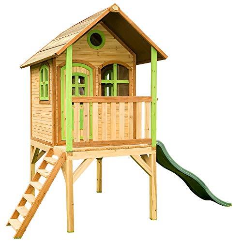 Beauty.Scouts Holzspielhaus Wencke mit Veranda + Rutsche + Leiter 172x272x318cm aus Zedernholz in braun Spielhaus Kinderspielhaus Gartenhaus Holzhaus Stelzenhaus - 1