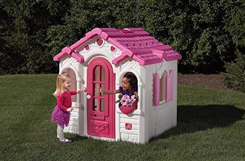 Beauty.Scouts Kinderspielhaus Lucy aus Kunststoff 134,6x119,4x147,3cm rosa Kunststoffspielhaus Spielhaus Gartenhaus Kinder Spiel Haus Outdoor Klingel Postfach - 3