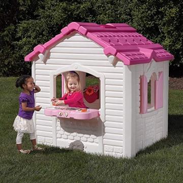 Beauty.Scouts Kinderspielhaus Lucy aus Kunststoff 134,6x119,4x147,3cm rosa Kunststoffspielhaus Spielhaus Gartenhaus Kinder Spiel Haus Outdoor Klingel Postfach - 4