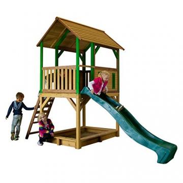 Beauty.Scouts Spielhaus Sevilla IV 191x370x291cm Holz braun-grün Rutsche grün Sandkasten Kinderspielhaus Spielhaus Holzhaus Kinderhaus Gartenhaus Spielen Garten - 2