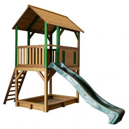 Beauty.Scouts Spielhaus Sevilla IV 191x370x291cm Holz braun-grün Rutsche grün Sandkasten Kinderspielhaus Spielhaus Holzhaus Kinderhaus Gartenhaus Spielen Garten - 1
