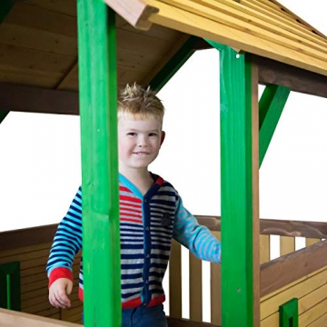Beauty.Scouts Spielhaus Sevilla IV 191x370x291cm Holz braun-grün Rutsche grün Sandkasten Kinderspielhaus Spielhaus Holzhaus Kinderhaus Gartenhaus Spielen Garten - 5