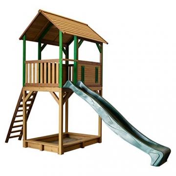 Beauty.Scouts Spielhaus Sevilla VI 191x444x321cm Holz braun-grün Rutsche grün Sandkasten Kinderspielhaus Spielhaus Holzhaus Kinderhaus Gartenhaus Spielen Garten - 1