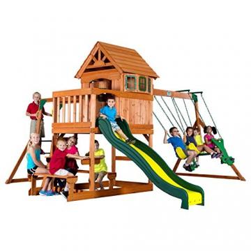 Beauty.Scouts Spielturm Major Holz in braun mit vielen Spielmöglichkeiten 470x490x280cm Kinderspielhaus mit Rutsche Kletterwand Schaukel Baumhaus Kletterturm - 2