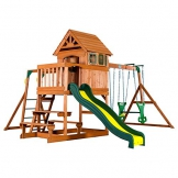 Beauty.Scouts Spielturm Major Holz in braun mit vielen Spielmöglichkeiten 470x490x280cm Kinderspielhaus mit Rutsche Kletterwand Schaukel Baumhaus Kletterturm - 1