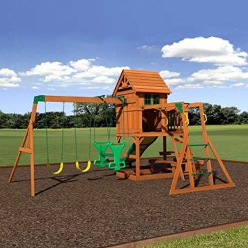 Beauty.Scouts Spielturm Major Holz in braun mit vielen Spielmöglichkeiten 470x490x280cm Kinderspielhaus mit Rutsche Kletterwand Schaukel Baumhaus Kletterturm - 3