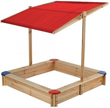 beluga Spielwaren 50354 - Sandkasten mit Dach und bunten Ecken, natur/rot - 1