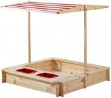beluga Spielwaren 50380 -Sandkasten mit Wasser-Matsch-Bereich und Rot/weißem Dach, natur / rot - 1