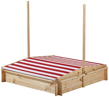 beluga Spielwaren 50380 -Sandkasten mit Wasser-Matsch-Bereich und Rot/weißem Dach, natur / rot - 3
