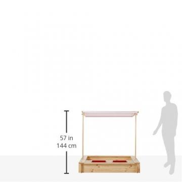 beluga Spielwaren 50380 -Sandkasten mit Wasser-Matsch-Bereich und Rot/weißem Dach, natur / rot - 4