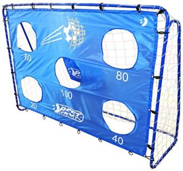 Best Sporting Fußballtor Set mit Tor, Torwand mit 5 Schusslöchern, Ball, Pumpe, Design Blau - 3