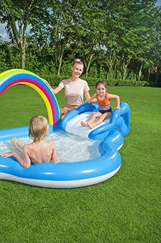 Bestway 53092 Wasserspielcenter mit Planschbecken Rainbow n' Shine 257 x 145 x 91 cm, Color - 12