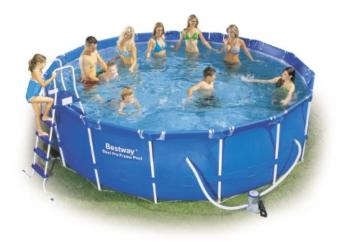 """Bestway 56100GS Frame Pool Stahlrahmenbecken Set, 457 x 122 cm """"Splash Jr."""" mit Filterpumpe GS - 1"""