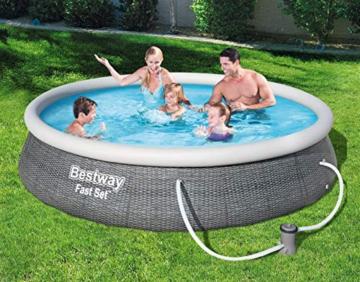 Bestway Fast Set Pool 396x396x84 cm, Gartenpool Set selbstaufbauend mit aufblasbarem Luftring, rund, mit Filterpumpe und Filterkartusche - 2