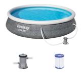 Bestway Fast Set Pool 396x396x84 cm, Gartenpool Set selbstaufbauend mit aufblasbarem Luftring, rund, mit Filterpumpe und Filterkartusche - 1