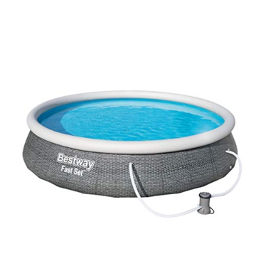 Bestway Fast Set Pool 396x396x84 cm, Gartenpool Set selbstaufbauend mit aufblasbarem Luftring, rund, mit Filterpumpe und Filterkartusche - 3