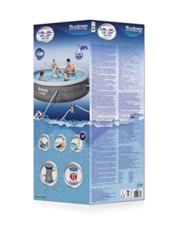 Bestway Fast Set Pool 396x396x84 cm, Gartenpool Set selbstaufbauend mit aufblasbarem Luftring, rund, mit Filterpumpe und Filterkartusche - 4