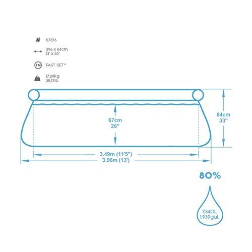Bestway Fast Set Pool 396x396x84 cm, Gartenpool Set selbstaufbauend mit aufblasbarem Luftring, rund, mit Filterpumpe und Filterkartusche - 6