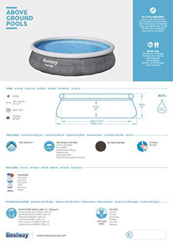 Bestway Fast Set Pool 396x396x84 cm, Gartenpool Set selbstaufbauend mit aufblasbarem Luftring, rund, mit Filterpumpe und Filterkartusche - 9