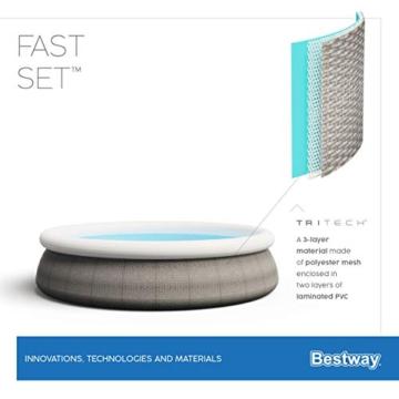Bestway Fast Set Pool 396x396x84 cm, Gartenpool Set selbstaufbauend mit aufblasbarem Luftring, rund, mit Filterpumpe und Filterkartusche - 10