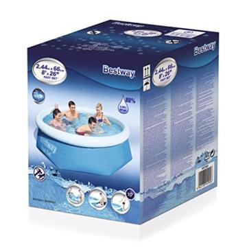 Bestway Fast Set Pool ohne Pumpe, rund 244 x 66 cm, blau, Blau - 3