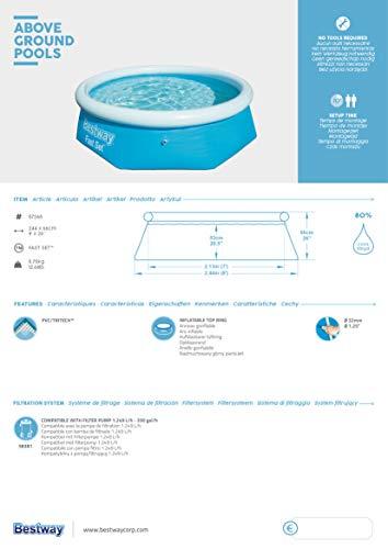 Bestway Fast Set Pool ohne Pumpe, rund 244 x 66 cm, blau, Blau - 6