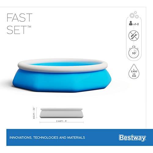 Bestway Fast Set Pool ohne Pumpe, rund 244 x 66 cm, blau, Blau - 7