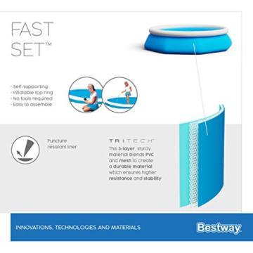 Bestway Fast Set Pool ohne Pumpe, rund 244 x 66 cm, blau, Blau - 8
