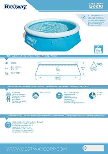 Bestway Fast Set Pool ohne Pumpe, rund 244 x 66 cm, blau, Blau - 9
